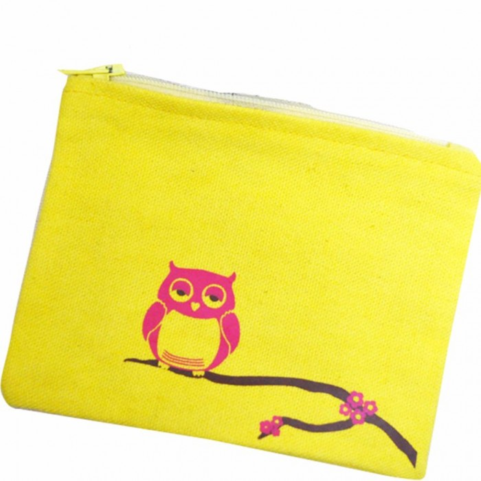 Haathi Chaap - Money Card Pouch - Pink Owl - Made From Special Mercerized Fabric - Printed