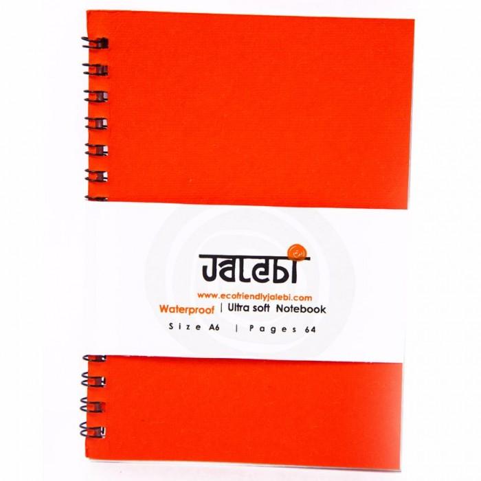 Jalebi Water Proof A6 NB Ruled Wiro Orange - Recyclabe Paper