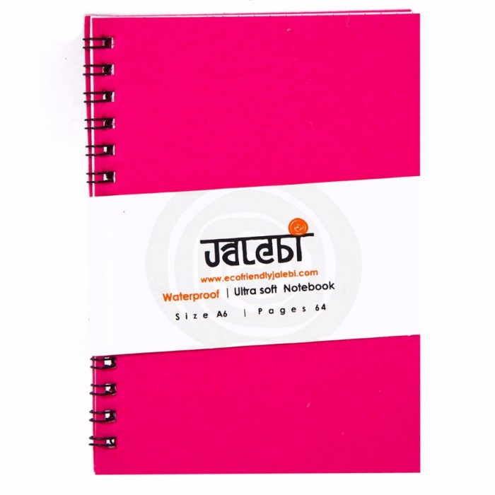 Jalebi Water Proof A6 NB Ruled Wiro Pink - Recyclabe Paper