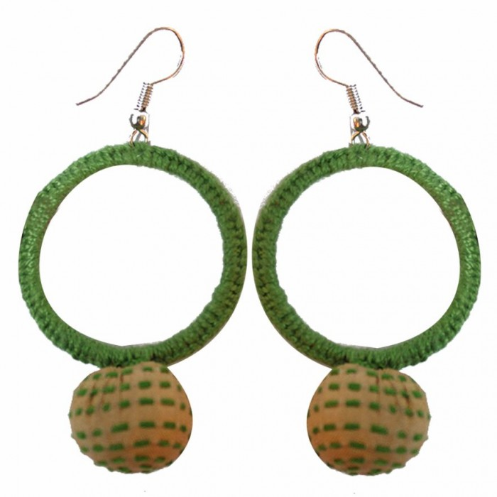 Jugaad Big Round Earring-Upcycled Fabric