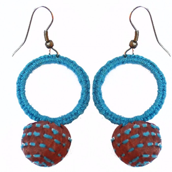 Jugaad Small Round Earring-Upcycled Fabric