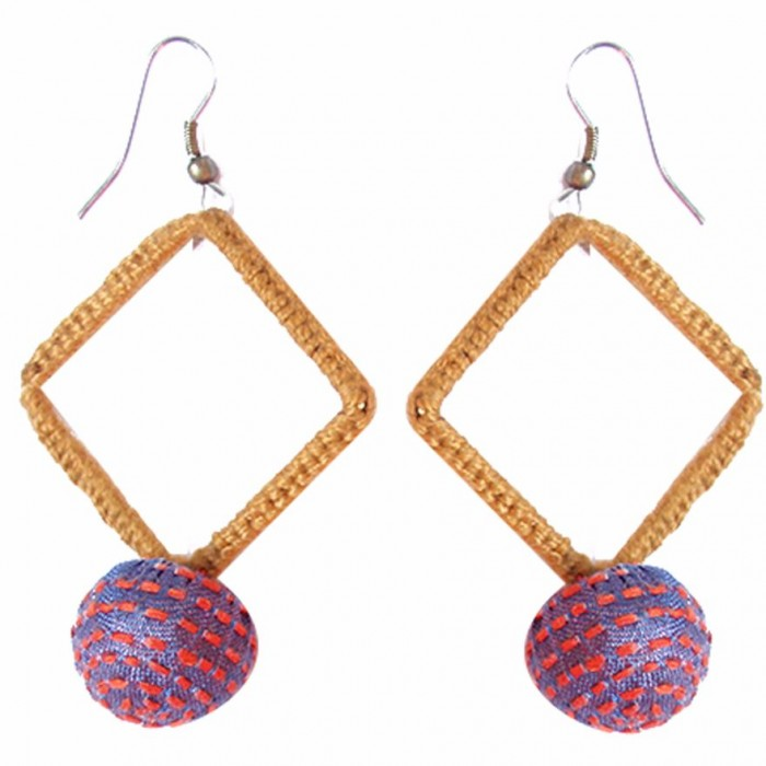 Jugaad Big Square Earring-Upcycled Fabric