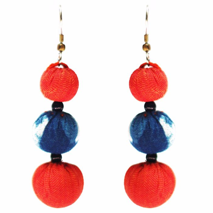 Jugaad Three Boria Cotton Earring-Upcycled Fabric