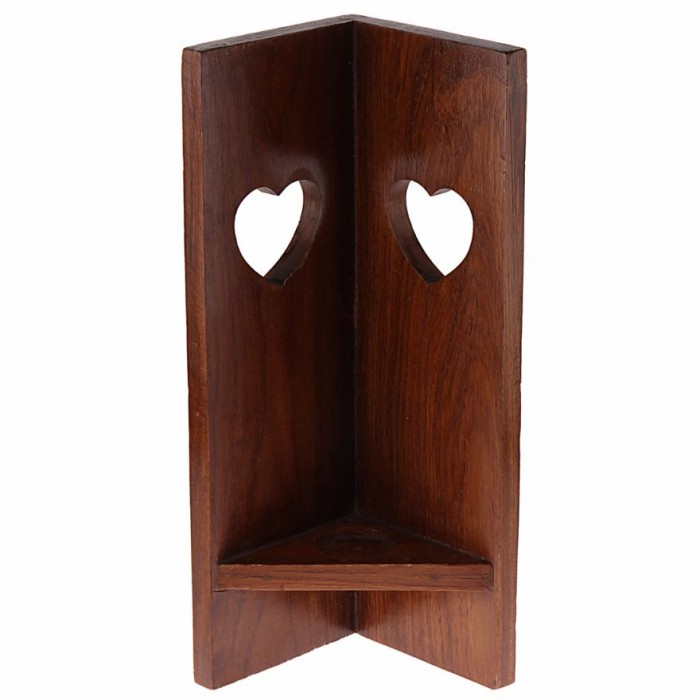 Corner Tea-Light Candle Stand by Punar - Heart Cut Out  - Handmade with Re-purposed Wood