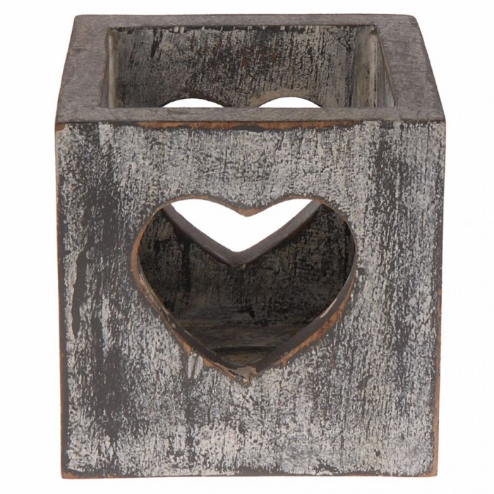 Multipurpose Box with Heart Cut-Out by Punar - Grey Colour - Handmade with Re-purposed Wood