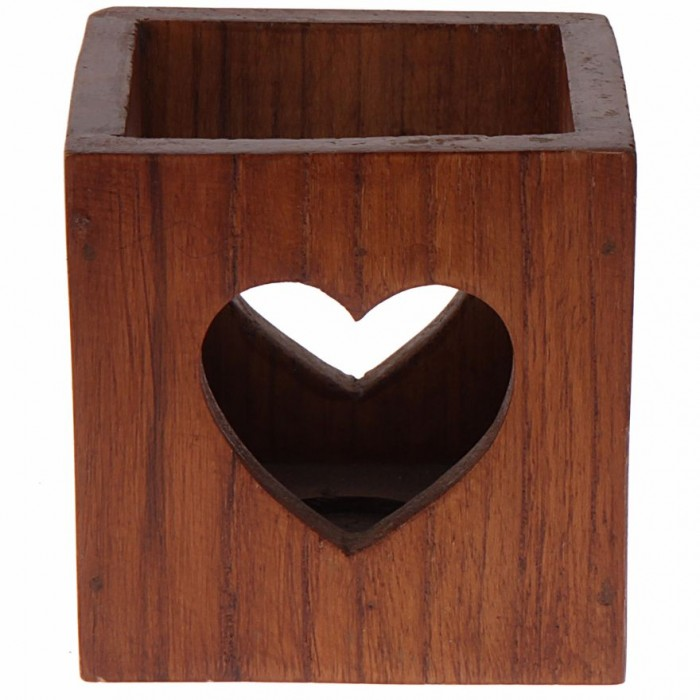 Multipurpose Box with Heart Cut-Out by Punar - Wood Finish - Handmade with Re-purposed Wood
