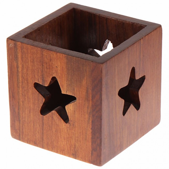 Multipurpose Box with Star Cut-Out by Punar - Wood Finish - Handmade with Re-purposed Wood