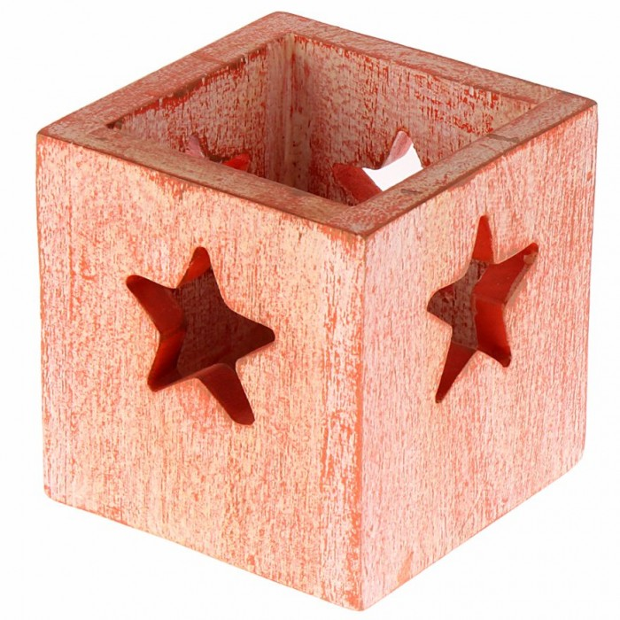 Multipurpose Box with Star Cut-Out by Punar - Dark Peach - Handmade with Re-purposed Wood