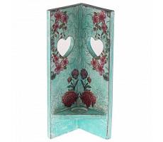 Punar Corner candle stand decoupaga-turquoise green