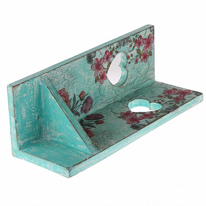 Corner Tea-Light Candle Stand by Punar - Decoupage - Turquoise Green  - Handmade with Re-purposed Wood