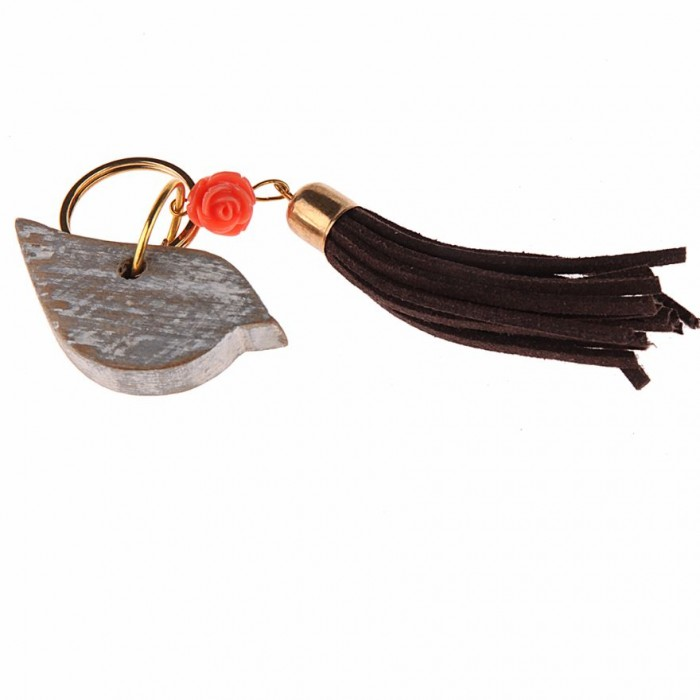 Bird Charm with Butterfly, Flower & Tassle by Punar - Handmade with Re-purposed Wood