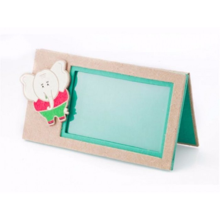 Haathi Chaap Green Coloured Photo Frame with Ele Magnet - Elephant Poo Paper & Handmade Cotton Paper.