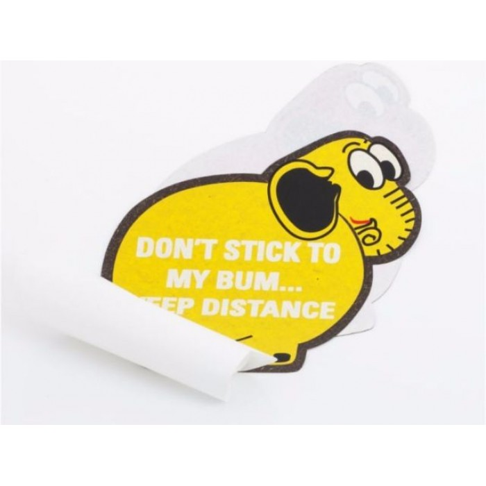 Haathi Chaap Yellow Coloured Elephant`s Back Bumper Sticker / Car Sticker - Recycled Elephant Dung Paper