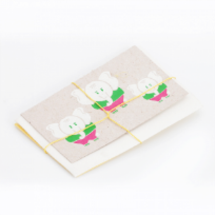 Haathi Chaap Block Printed Greeting Card (Set of 2 ) - Elephant Dung Paper & Handmade Cotton Paper