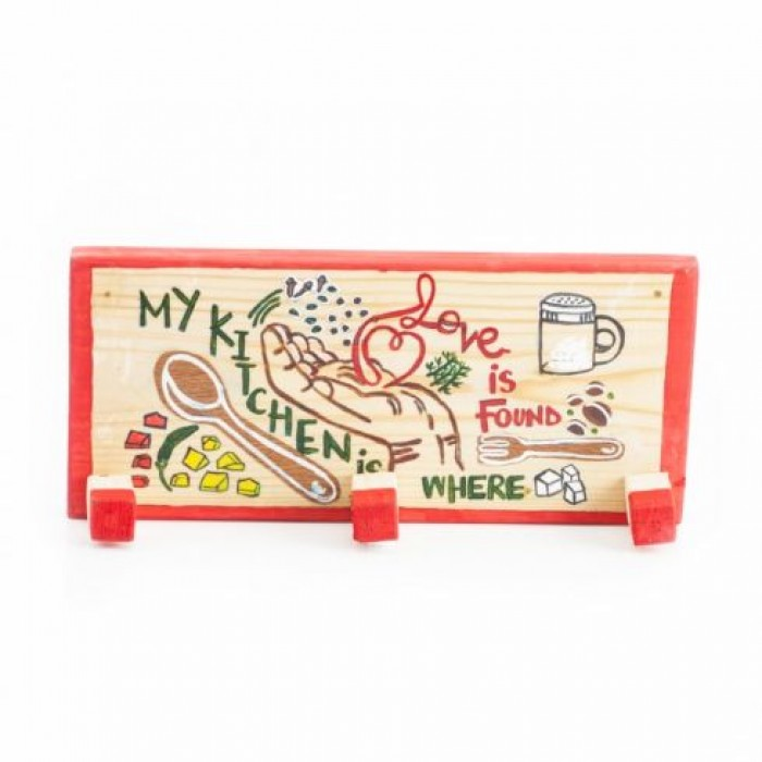Enthu Cutlets Kitchen Peg-My Kitchen Is Where Love Is Found - Upcycled Wood