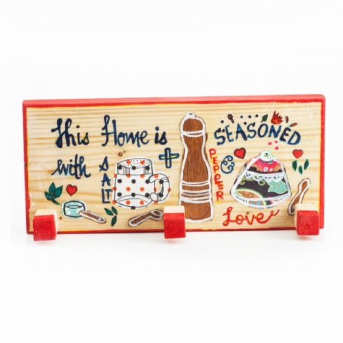 Enthu Cutlets Kitchen Peg-This Home Is With Salt+Seasoned Pepper Love - Upcycled Wood