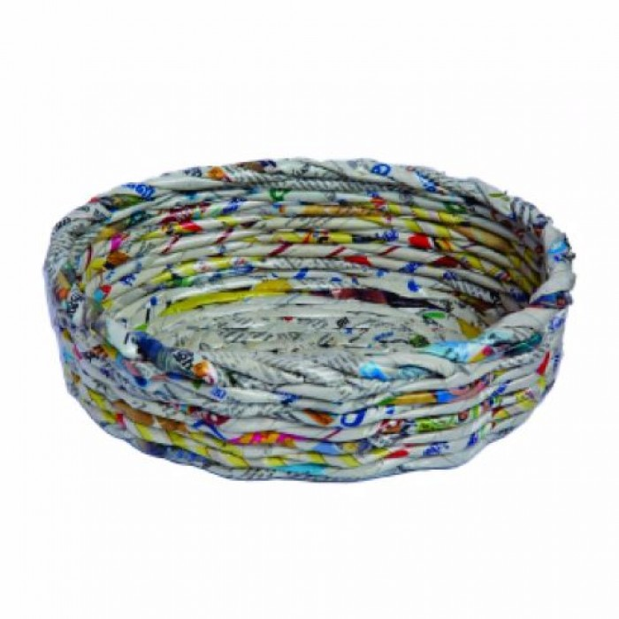 Unique Handmade Paper Products Basket Round Large - Upcycled Newspaper