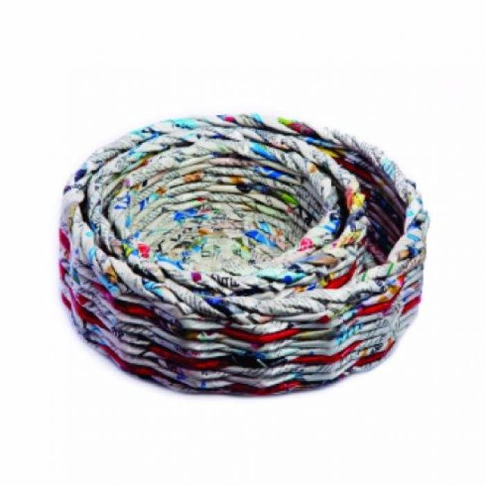 Unique Handmade Paper Products Basket Round Set - Upcycled Newspaper