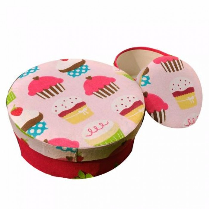 Enthu Cutlets Fabric Boxes set of 2 - Red - Upcycled Cloth