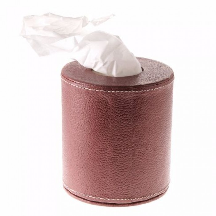 Eco Leatherette Handcrafted Round Tissue Box-Dark Brown- Recycled Cotton