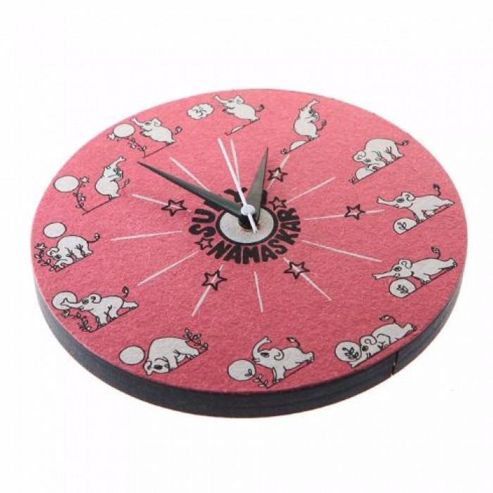 Haathi Chaap Pink Coloured Surya Namaskar Word Wall Clock Without Glass - Recycled Elephant Dung Paper