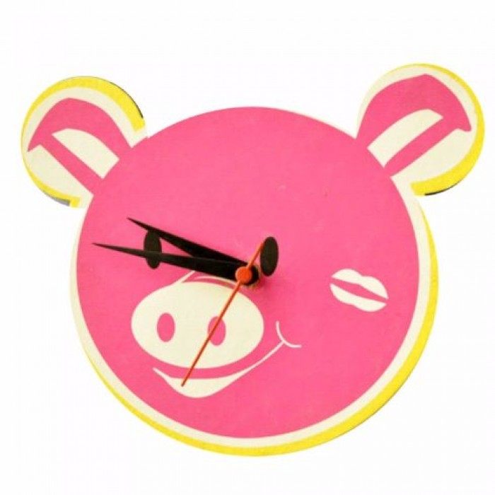 Haathi Chaap Animal Shaped Pink Colour Wall Clock - Elephant Poo Paper
