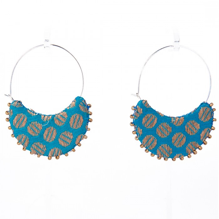 Sanchali Earring 04-Upcycled Fabric, Metal And Re-purposed Beads