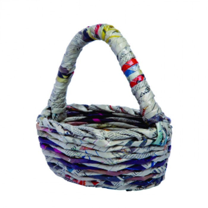 Unique Handmade Paper Products Basket Oval Medium With Handle - Upcycled Newspaper