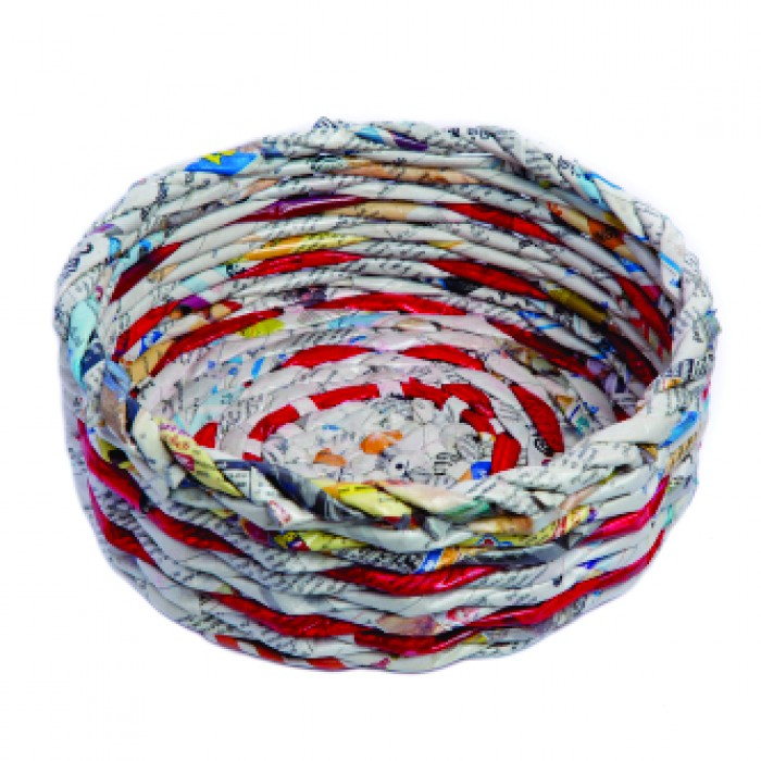 Unique Handmade Paper Products Basket Round Medium - Upcycled Newspaper