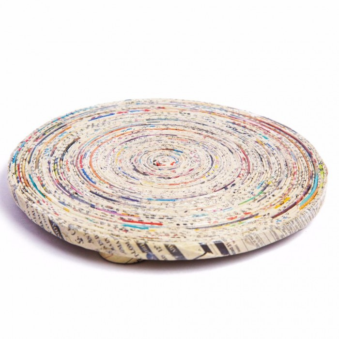 Unique Handmade Paper Products Hot Pot Round - Upcycled Newspaper