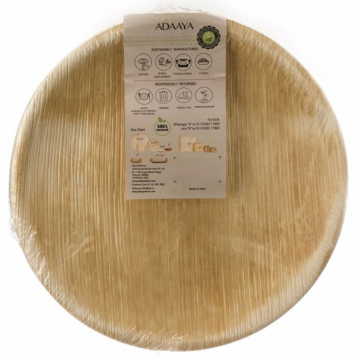 Adaaya Farms Palm Deep Round Plate 12 Inch - Eco Friendly, Bio degradable & Compostable - Suitable for Parties and Events