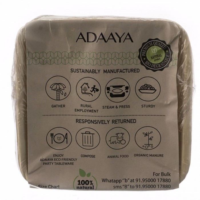 Adaaya Farms Palm Small Square Bowl 3 inch - Eco Friendly, Bio degradable & Compostable - Suitable for Parties and Events