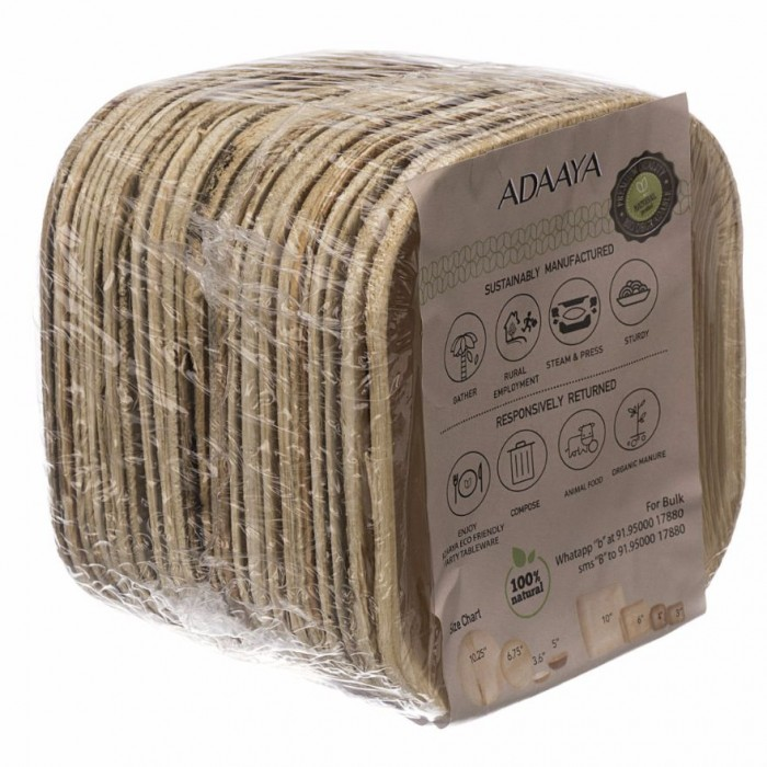 Adaaya Farms Palm Entree Plate 4 inch - Eco Friendly, Bio degradable & Compostable - Suitable for Parties and Events