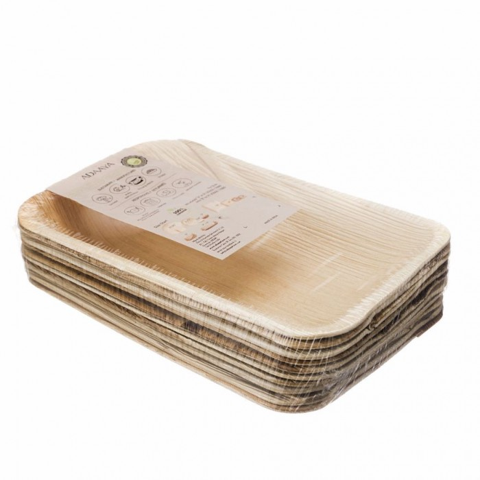 Adaaya Farms Palm Rectangle Deep Tray 9Inch set of 10 - Eco Friendly, Bio degradable & Compostable - Suitable for Parties and Events