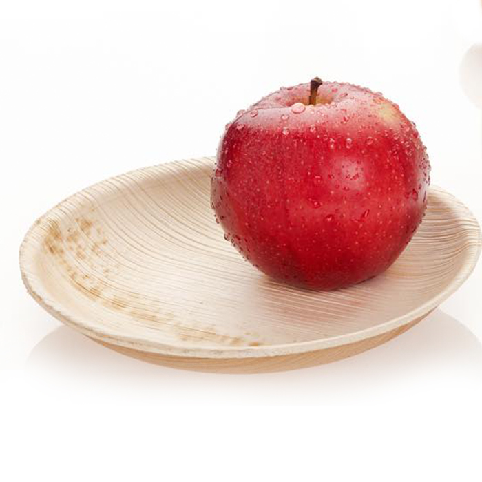 Adaaya Farms Palm Round Quarter Plate 6.75 Inch Set of 10 - Eco Friendly, Bio degradable & Compostable - Suitable for Parties and Events