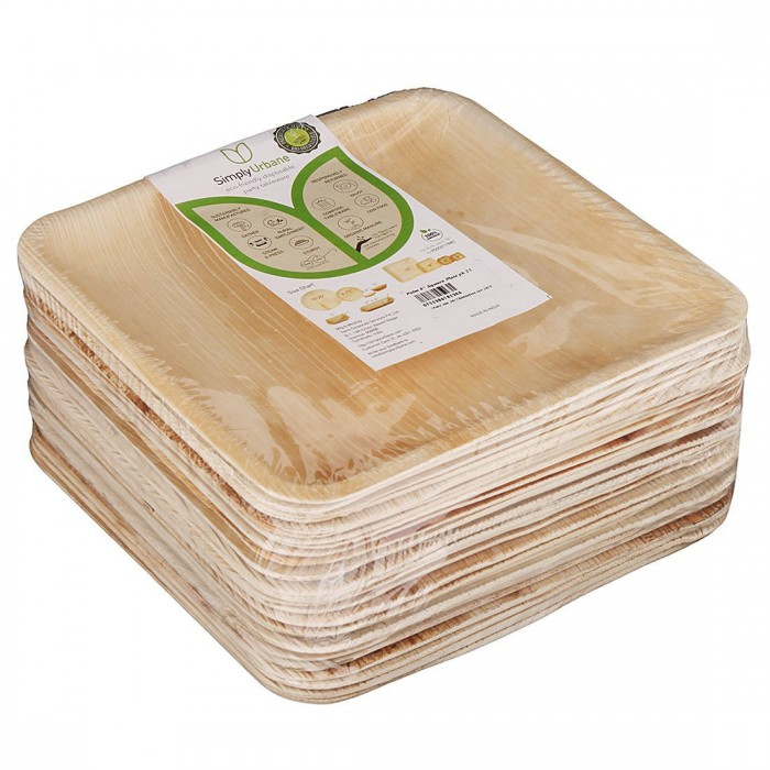 Adaaya Farms Natural Palm Plates - Pack of 25 Plates / Square / 8 Inches - Eco Friendly, Bio degradable & Compostable - Suitable for Parties and Events…