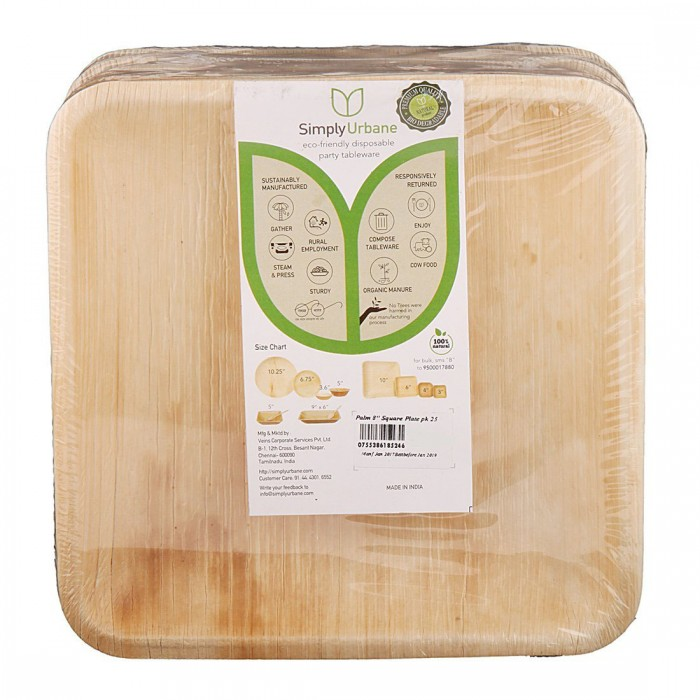 Adaaya Farms Natural Palm Dinner Plate - Pack of 25 Plates / Square / 10 Inches - Eco Friendly, Bio degradable & Compostable…