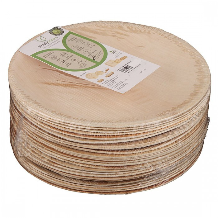 Adaaya Farms Simply Urbane Natural Palm Plates - Pack of 25 Plates / Round / 9 Inches - Eco Friendly, Bio degradable & Compostable - Suitable for Parties and Events…