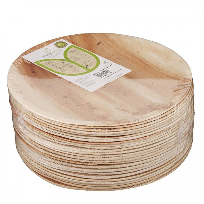Adaaya Farms Natural Palm Quarter Plate - Pack of 25 Plates / Round / 6.75 Inches - Eco Friendly, Bio degradable & Compostable - Suitable for Parties and Events