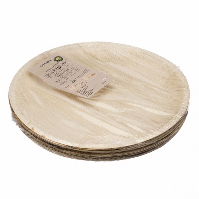 Adaaya Farms Palm Round Dinner Plate 10.25 Inch - Eco Friendly, Bio degradable & Compostable - Suitable for Parties and Events