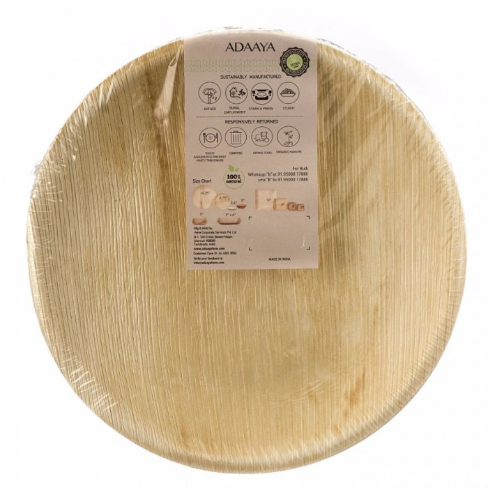 Adaaya Farms Palm Round Dinner plate 10.25 Inch set of 25 - Eco Friendly, Bio degradable & Compostable - Suitable for Parties and Events