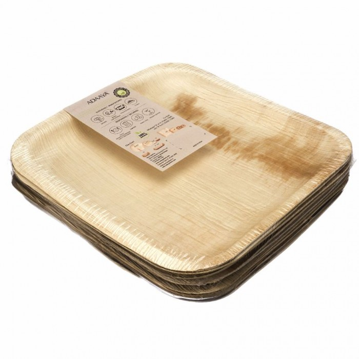 Adaaya Farms Palm Square Dinner Plate 10 Inch - Eco Friendly, Bio degradable & Compostable - Suitable for Parties and Events
