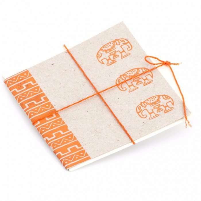 Haathi Chaap Block Printed Greeting Card Set / 4.4 inches , 3 Cards - Elephant Dung Paper & Handmade Cotton Paper
