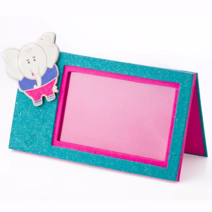 Haathi Chaap Pink Coloured Photo Frame with Ele Magnet - Elephant Poo Paper & Handmade Cotton Paper