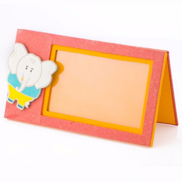 Haathi Chaap Orange Coloured Photo Frame with Ele Magnet - Elephant Poo Paper & Handmade Cotton Paper.