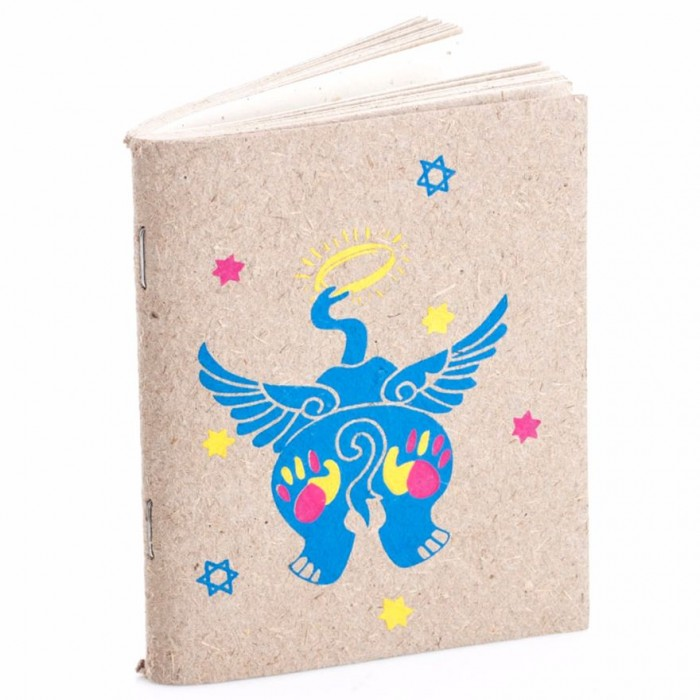 Haathi Chaap Soft Cover Blue Elephant Print Notebook Small / 30 pages - Elephant Poo Paper & Handmade Cotton Paper