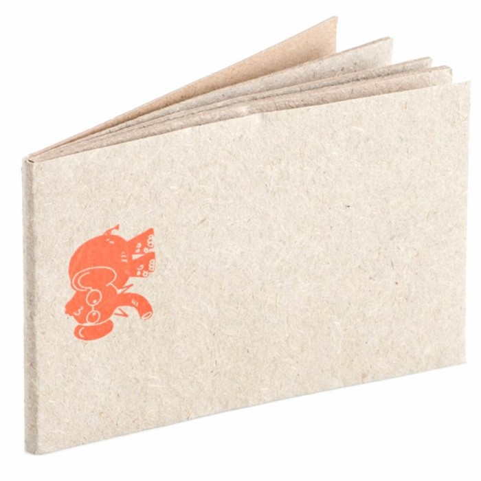 Haathi Chaap Orange Elephant Printed Natural Colour Notepad / 20 pages - Elephant Poo Paper