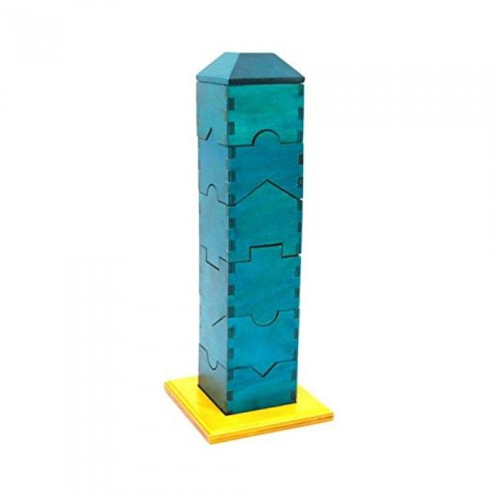 Skola Toys Jigsaw Tower - 3D Stacking Pieces - Blue