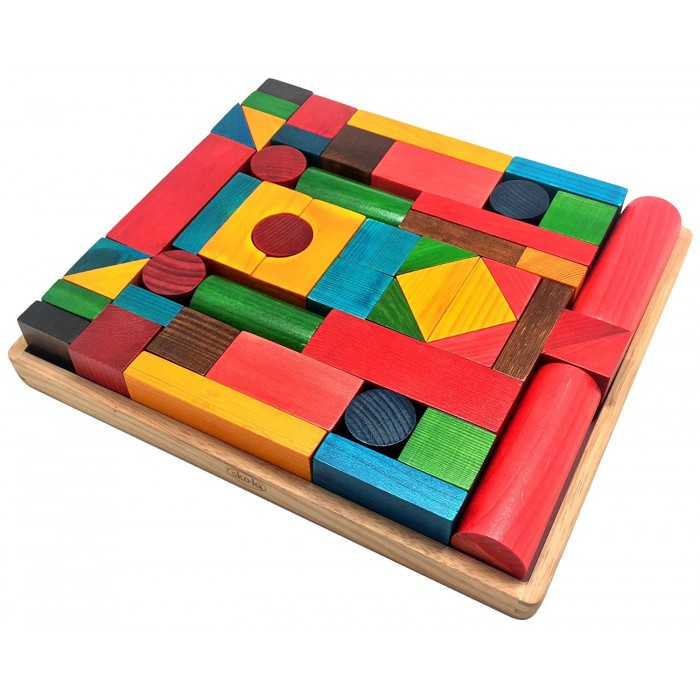 Skola Toys Building Blocks - Tray with 50 Wooden Dyed 3D Geometry Shapes