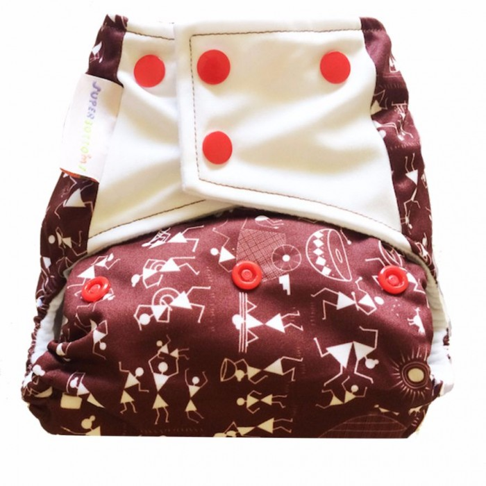 Superbottom Warli Art Diaper Plus-Fabric, Organic Bamboo cotton, Hemp